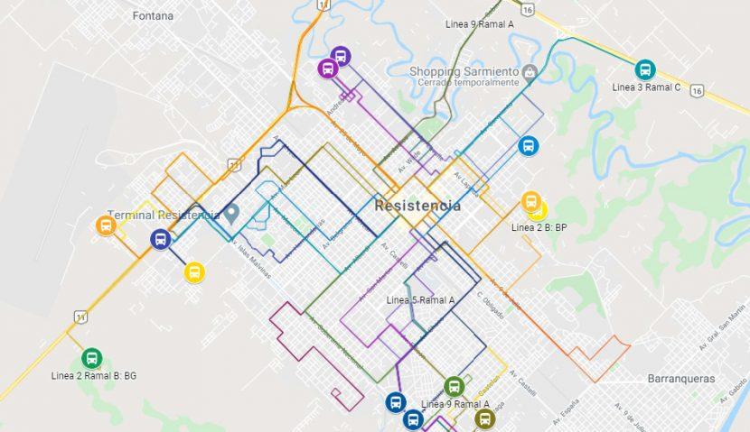 Mapa de transporte urbano de pasajeros